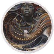 African Spirits I Round Beach Towel by Ricardo Chavez-Mendez