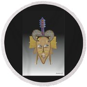 African Tribal Ceremonial Mask Round Beach Towel
