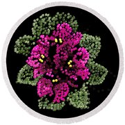 African Violets Bedazzled Round Beach Towel