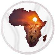 African Wildlife Map Round Beach Towel