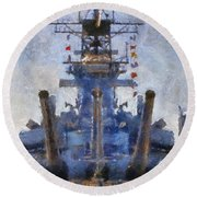 Aft Turret 3 Uss Iowa Battleship Photoart 02 Round Beach Towel