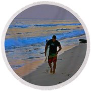 After A Long Day Of Surfing Round Beach Towel by John Malone