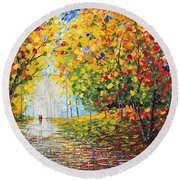 After Rain Autumn Reflections Acrylic Palette Knife Painting Round Beach Towel