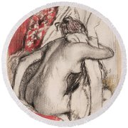 After The Bath.seated Woman Drying Herself Round Beach Towel