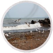 After The Spring Thaw Round Beach Towel