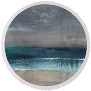 After The Storm- Abstract Beach Landscape Round Beach Towel