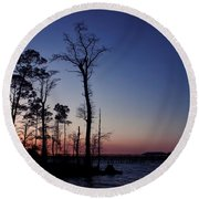 After The Sun Goes Down Round Beach Towel by Kim Hojnacki