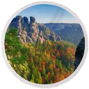 After The Sunrise On The Bastei Round Beach Towel