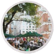 Afternoon At Faneuil Hall Round Beach Towel