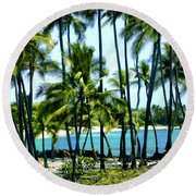 Afternoon At Kakaha Kai Round Beach Towel