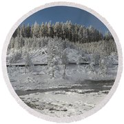 Afternoon At Mud Volcano Area - Yellowstone National Park Round Beach Towel