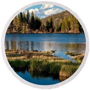 Afternoon At Sprague Lake Round Beach Towel