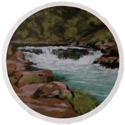 Afternoon At The Narrows Round Beach Towel