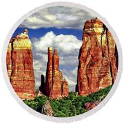 Afternoon Cathedral Rocks Saddle View Red Rock State Park Sedona Arizona Round Beach Towel