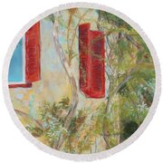 Afternoon In Athens Round Beach Towel
