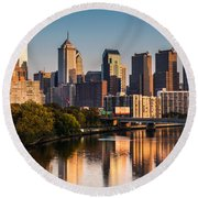 Afternoon In Philly Round Beach Towel