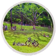 Afternoon In The Park With Friends Round Beach Towel
