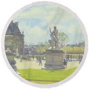 Afternoon In The Tuileries, Paris Oil On Canvas Round Beach Towel