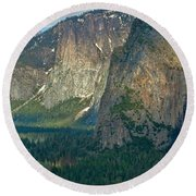 Afternoon In Yosemite Round Beach Towel