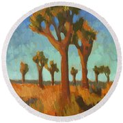Afternoon Light At Joshua Tree Round Beach Towel