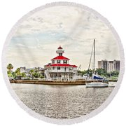 Afternoon On The Water - Hdr Round Beach Towel