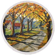 Afternoon Shadows By Prankearts Round Beach Towel