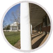 Afternoon Shadows Spread Across The Dorms Rooms Along The Lawn Round Beach Towel