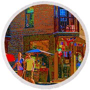 Afternoon Stroll French Bistro Sidewalk Cafe Colors Of Montreal Flags And Umbrellas City Scene Art Round Beach Towel