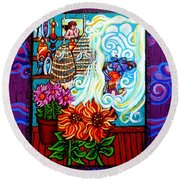 Afternoon Tea By The Window Round Beach Towel