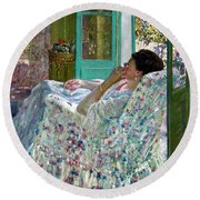 Afternoon Yellow Room Round Beach Towel
