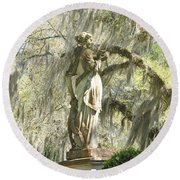 Afton Plantation Villa Statuary Round Beach Towel