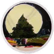 Against The Moon Round Beach Towel