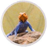 Agama Lizard On Rock Round Beach Towel