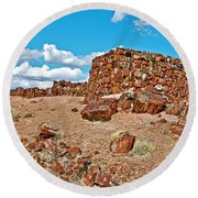 Agate House In Petrified Forest National Park-arizona  Round Beach Towel