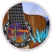 Agave Guitar Round Beach Towel