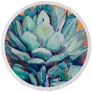 Agave With Pups Round Beach Towel