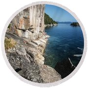 Agawa Pictographs Round Beach Towel