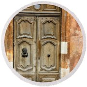 Aged Door In Provence Round Beach Towel