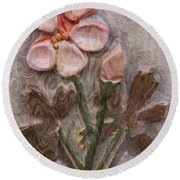 Aged Pink Beauty Round Beach Towel