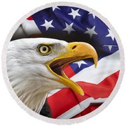 Aggressive Eagle And United States Flag Digital Art By