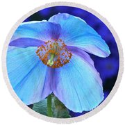 Aglow In Blue Wide View Round Beach Towel