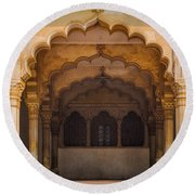 Agra Fort Arches Round Beach Towel