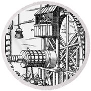 Agricola Waterwheel, 1556 Round Beach Towel