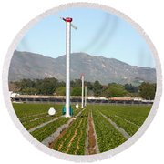 Agricultural Windmills Round Beach Towel