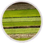 Agriculture Layers Fields And Meadows Round Beach Towel