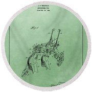 Agriculture Plow Patent Round Beach Towel