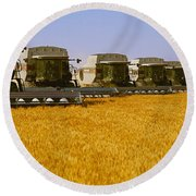 Agriculture - Six Gleaner Combines Round Beach Towel