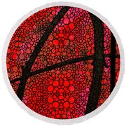 Ah - Red Stone Rock'd Art By Sharon Cummings Round Beach Towel