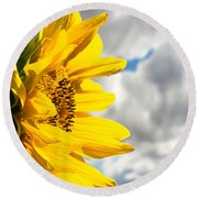 Ah Sunflower Round Beach Towel
