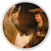 Ahimelech Giving The Sword Of Goliath To David Round Beach Towel